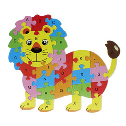 Wholesale Elephant Puzzle - Wholesale-2016 Hot Wooden Animals Kids Baby Early Educational Alphabet Puzzle Cartoon Hippo Lion Butterfly Owl Elephant Brain Game Toys