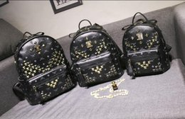 Wholesale Students Bags Woman Laptop - Free Shipping M-01 2017 new arrival Fashion women punk rivet backpack school bag unisex backpack student bag men travel Lady the laptop Bags