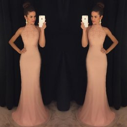 Wholesale Cheap Black Satin Robes - 2018 sexy cheap evening dress robe de soiree high neck lace gold prom dresses mermaid