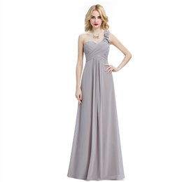 Wholesale Grey Chiffon Bridesmaid Dresses - Chic 2017 Grey Beach Bridesmaid Dresses Under 50 One-shoulder Zipper Back Long Bridesmaids Wedding Guest Maid Of Honor Dresses