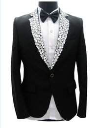 Wholesale Black Rhinestone Pants - Wholesale-Free ship mens tuxedo suit black white rhinestone collar decoration, jacket with pants, not include shirt