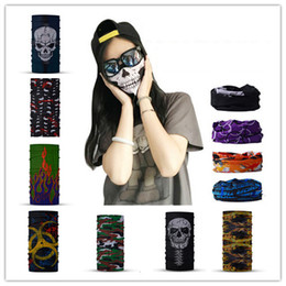 Wholesale Skeleton Face Scarf - Motorcycle SKULL Ghost Face Windproof Mask Outdoor Sports Warm Ski Caps Bicyle Bike Scarf Headband Skeleton Neck Face Masks Cycling