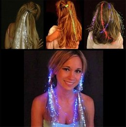 Wholesale Hair Extensions Led Light - Luminous Light Up LED Hair Extension Flash Braid Party girl Hair Glow by fiber optic For Party Christmas Halloween Night Lights Decoration