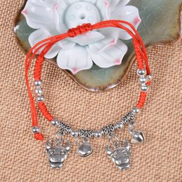 Wholesale Chinese Red String Bracelets - Wholesale-Traditional Chinese Zodiac Bead Feng Shui Jewelry Lucky Charm Red String Bracelet