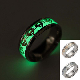 Wholesale Superman Man Steel - Superman Ring Stainless Steel Fluorescent Glow In The Dark Ring Band Gold Silver Pattern Rings for Men Women Fashion DROP SHIP 080251