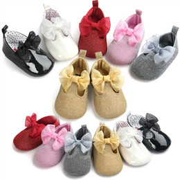 Wholesale Leather Maternity Shoes - Baby girl shoes Bows Princess party shoes Infant Kids shoes Birthday Shining Soft sweet 0-1 year Maternity new DHL