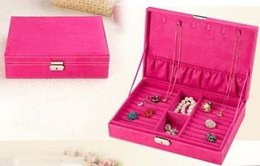 Wholesale Large Earrings For Cheap - Wholesale cheap 5 Colors for Choice handmade Large Velvet Jewelry Ring Earrings Storage Box Case