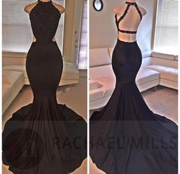 Wholesale Silver Mermaid Prom Dress Back - 2017 New Elegant Black Long Mermaid Prom Gown With Lace Jewel Sleeveless Open Back Sequins Sweep Train Evening Dresses Couture