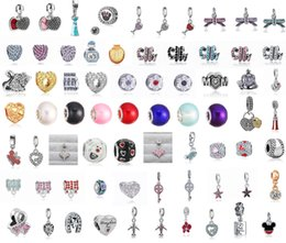 Wholesale Wholesale Spiked Bracelets - 70pcFits Pandora Charm Bracelet Elegant Charming 925 Heart Crystal Beads Silver Plated Loose Charms For Diy European Style Snake Charm Chain
