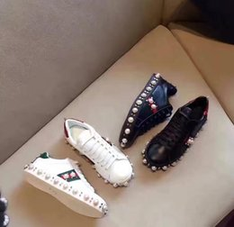 Wholesale Round Studs - 2017 new Arrivals spring autumn womens black white Genuine cow Leather lace up punk spike Sneakers gold studs beads Pearl embroidery shoes
