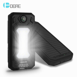 Wholesale Power Bank External Battery Waterproof - 12000mAh Travel Waterproof Solar Power Bank Dual USB External Battery Solar Charger Powerbank for Iphone 5S 6s 7