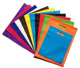 Wholesale Gold Recycled - Wholesale- 30*40cm gift advertisement Reusable Recycle non woven shopping bags recyle supermarket non woven bags with handles