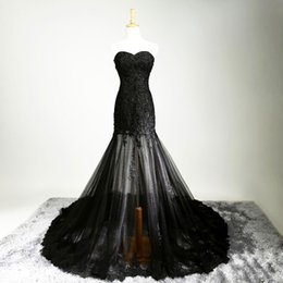 Wholesale French Vintage Art - Sexy Black French Tulle Lace Long Evening Dress Elegant Embroidery Body sweetheart Prom Dresses Beaded Evening Party gowns