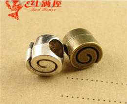 Wholesale Bronze Snail - 9*8MM Antique Bronze european snail charms for bracelet, fashion vintage metal loose beads, brass big hole silver beads diy jewelry making
