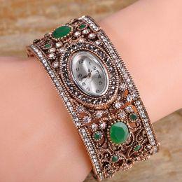 Wholesale Antique Gold Clock - Turkish Jewelry Resin Watch Bracelets&Bangles For Women Men Antique Gold Color Pulseira Relogio Feminino Time Clock Bijouterie