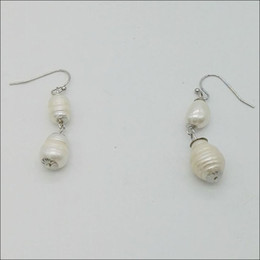 Wholesale Mop Jewelry Wholesale - Handmade Double Drop Earring Silver Fresh Water Pearl Earrings For Women Ladies Wedding Jewelry 3 Colorways From Mop Fishhook