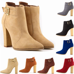 Wholesale Womens Heels Nude - New Fashion Platform Faux Velvet Suede High Heels Womens Pointed Toe Casual Winter Ankle Boots Botas Femininas D0046