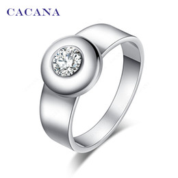 Wholesale Round Engagement Rings - CACANA Stainless Steel Rings For Women With Round CZ Diamond Fashion Jewelry Wholesale NO.R142