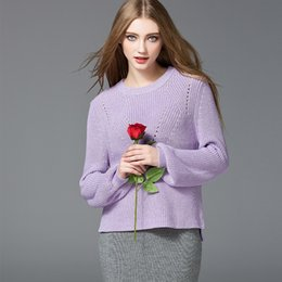 Wholesale Cotton Wool Turtlenecks - Fashion Long Puff Sleeve Sweaters Relaxed Hollowed Out Womens Sweaters for Spring and Autumn Turtleneck Cotton