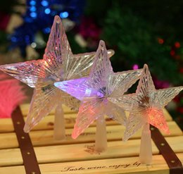 Wholesale Lighted Christmas Topper - Pentagram Star LED Xmas Tree Topper Fairy Light Multi Color Flash Button Battery Powered light lamp Christmas Tree Decorations working