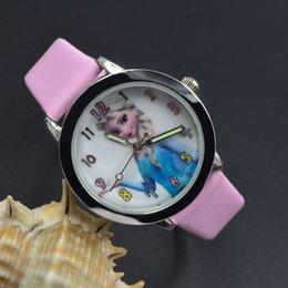 Wholesale Princess Nude - Wholesale 2017 lovely child watch Frozen children watch Girls Student cartoon Princess table quartz watch 6 color Free shipping