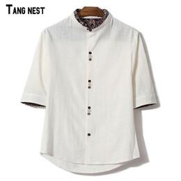 c9117615753 Wholesale- TANGNEST Men Linen Shirts New Summer Short-sleeved Patchwork  V-neck Collar Leisure Shirts Male Plus Size Linen MCS659