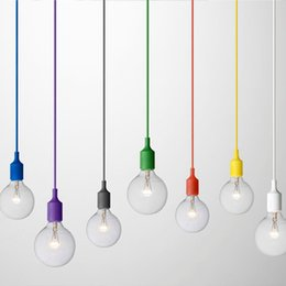 Wholesale Led Lights Fixtures Wholesale - Art Decor Silicone E27 Pendant Lamp Ceiling light bulb Holder Hanging lighting Fixture base Socket Modern silica gel retro Colorful muuto