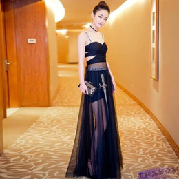 Wholesale Dress Maxi Runway - High Quality Top Brand Women Sequin Dress 2017 Autumn Strapless Luxury Embroidery Beaded Net Yarn Party Evening Occassion Long Gowns Robe