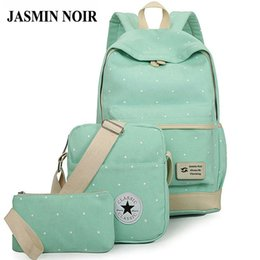Wholesale Canvas Big Backpack For School - Wholesale- fresh Canvas Women Backpack big girl student book bag with purse laptop 3pcs set bag high quality ladies school bag for teenager