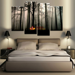 Wholesale Pictures Painted Homes - 4 Panel Large Canvas Art Modern Abstract HD Canvas Print Home Decor Wall Art Painting Picture-Dark Forest Landscape