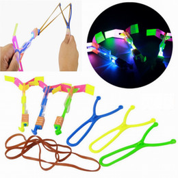 Wholesale Led Helicopter Slingshot - Flash Copter LED Slingshot Helicopter Flare Glow Sling Arrow Shot Copter Glitter Light Emitting Arrow Flying Toys Outdoor Fun Sports