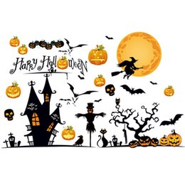 Wholesale Decoration Wall Party - Halloween Pumpkin Wall Stickers Witch Broom Pumpkin Ghost Bat Happy Halloween Night Party For Home Wall Bedroom Window Decoration