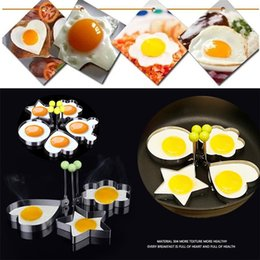 Wholesale Stainless Steel Egg Ring - Fried Egg Mold Non-Stick Stainless Steel Cartoon Heart DIY Cooking Biscuit Meatloaf Mold Set Tool pancake rings Kitchen Accessories Egg I112