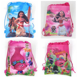 Wholesale Woven Backpack Wholesale - Kids Trolls Backpacks Moana Drawstring Bags Cartoon Non Woven Sling Bag School Bags Party Gift Bag Birthday Gifts 12pcs lot CCA6738 600pcs