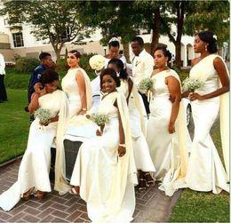Wholesale Wedding Shawls For Bridesmaids - Beige Mermaid Bridesmaid Dresses New Fashion One shoulder Long elegant Wedding guest dress with shawl Black Girl dresses for wedding