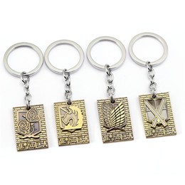 Wholesale Attack Titan Rings - New Product Attack on Titan Key Chain Keychain Key Rings Holder Souvenir For Gift Men Jewelry