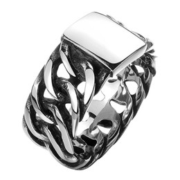 Wholesale Offering Plates - 100% Stainless Steel Ring Men Women Retro Jewelry Punk Style Buddha 2 Buddha Ring Sale Factory Offer