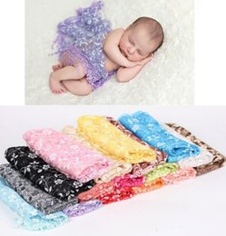 Wholesale Lace Baby Blanket - Newborn Baby Photo Photography Prop Wrap Lace Flowers Baby Swaddling Infant Wraps Blankets Newborn Photography Wraps KKA3244