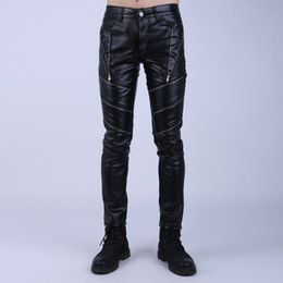 Wholesale Tights For Men Fashion - Wholesale-Fashion Night Club DJ Swag Skinny Mens Faux Leather PU Tight Black Joggers Biker Pants For Men Boys With Zippers