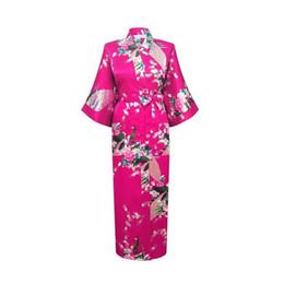 Wholesale Women S Bath Robes - Wholesale- Floral Sexy Women Silk Robe Nightgown Printed Sleepwear pijama Long Kimono Bath Gown Plus Size Wedding Bride Bridesmai Robe