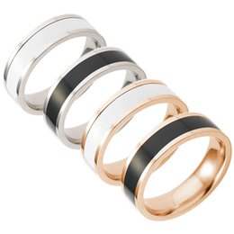 simple gifts band Promo Codes - Stainless Steel Black White Finger ring Rose Gold Simple Band Rings Two Tone ring Couple Rings for Women Fashion Jewelry DROP SHIP 080190