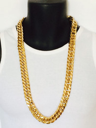 Wholesale Mens African Necklaces - Epacket FREE SHIPPING Mens Miami Cuban Link Curb Chain 24k Real Yellow Solid Gold GF Necklace Hip Hop 11MM Thick Chain JayZ