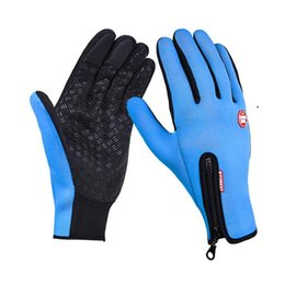 Wholesale Riding Mittens - Cycling Gloves Outdoor Sports Riding Glove Winter Thicken Touch Screen Fleece Men And Women Non Slip Full Finger Mittens Warm 15gc F