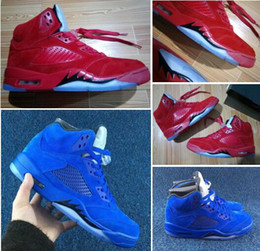 Wholesale Suit Canvas - Flight Suit 5s RAGING BULL RED Suede ICE Blue Suede 5s Wholesale Basketball Shoes With Box Men Size
