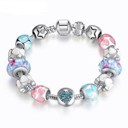 Wholesale Tibetan Charms Heart - Fine Tibetan silver Beads Bracelet Pandora Charms heart-shaped Bracelet High-end Jewelry Boutique Diy Macroporous Glass Bead Bracelet