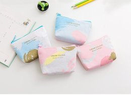 Wholesale Korean Wholesale Christmas Gift Bags - New starry sky printing Canvas Coin purse key holder wallet small Christmas gifts bag clutch handbag 4 style