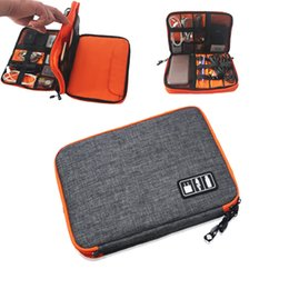 Wholesale Trunk Organizers - Free Shipping Waterproof Double Layer Cable Storage Bag Electronic Organizer Gadget Travel Bag USB Earphone Case Digital Organizador