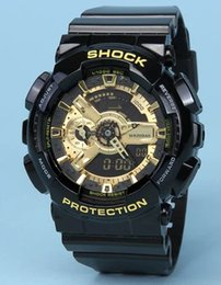 Wholesale Led Pointer Watch Mens - AAAA Quality Mens G Sports GA110 Luxury Watches LED Waterproof Digital S Shock Men 100 Watch All Pointers Work Auto Light with Box Drop Ship