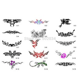 Wholesale Temporary Tattoo Sets - Wholesale-Freeshipping 30 Patterns Airbrush Temporary Tattoo Stencils Booklet 5 Set for Airbrushing Art Booklet Body Tatto Art