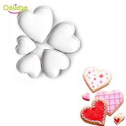 Wholesale Wholesale Metal Flower Cutters - Delidge 5 pcs set Cookie Mold Set Star Flower Heart Shape Cookie Mold Stainless Steel Cake Decoration Cookie Cutter Mold